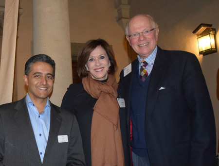 photo of Current Associates Board President Lynda Fetter with Past President Ananth Natarajan (left), and Associates Member Max Factor