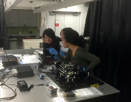 Caltech Students working in the Cahill Optics Laboratory