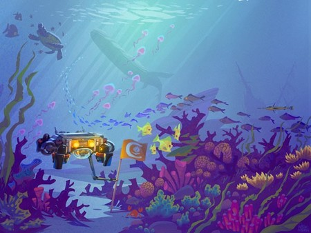 Artist's llustration of Dory, Caltech's robot entry in the 2016 Association for Unmanned Vehicle Systems International RoboSub Competition