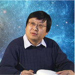 Yanbei Chen with a background image of two colliding black holes